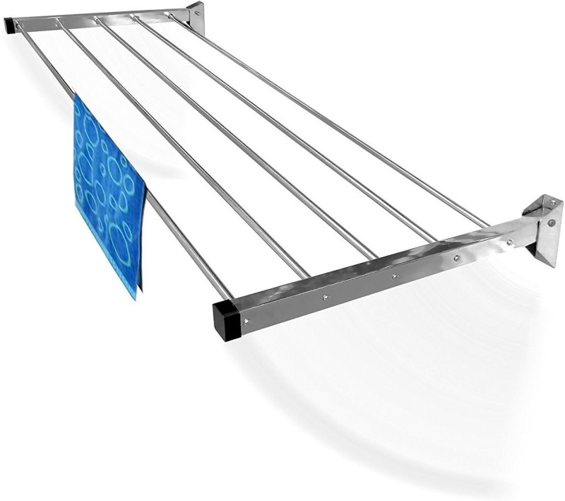 Best 4U 3 PIPE 5 FEET LONG GLIDER Stainless Steel Wall Cloth Dryer Stand(Silver)