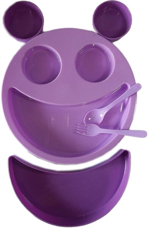 kotak sales Kids Children Purple Smiley Face Plates Mickey Shape Dish Mac Doodle Plate (1Set) Dinner Set(Plastic)
