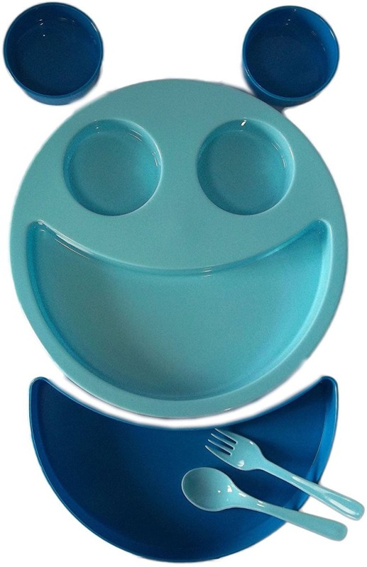 kotak sales Kids Children Blue Smiley Face Plates Mickey Shape Dish Mac Doodle Plate (1Set) Dinner Set(Plastic)