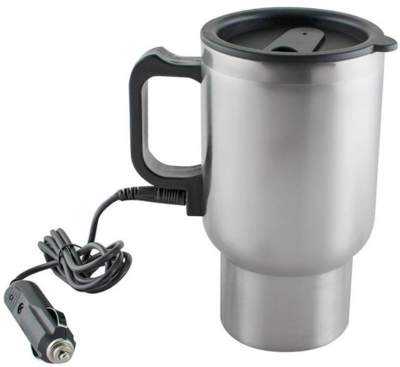 Benison India Stainless Steel Cup Kettle Travel Coffee Heated Mug Car Based Heating Motor Hot Water Heater With Cigar Lighter Cable Electric Kettle(450 L, Steel)