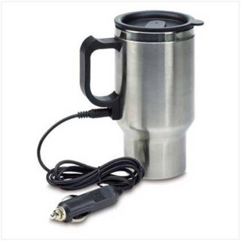 Benison India Coffee Cup with Car Wire Plug Stainless Steel Mug Electric Kettle(450 L, Silver)