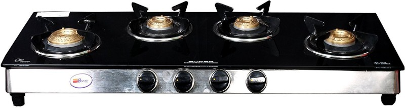 Bshine Stainless Steel, Glass Manual Gas Stove(4 Burners)