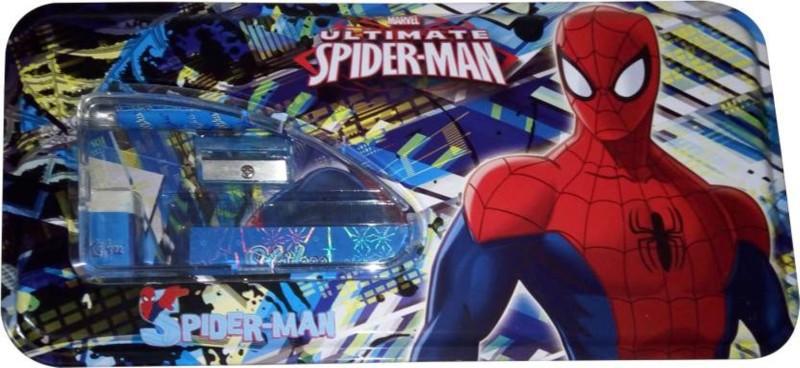 GUBBAREY Spiderman Cartoon Style Art Metal Pencil Box(Set of 1, Blue)