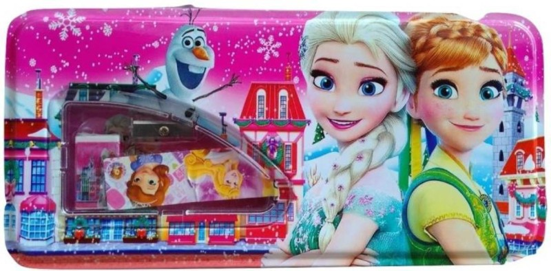 GUBBAREY Frozen Cartoon Pencil box Art Metal Pencil Box(Set of 1, Pink)
