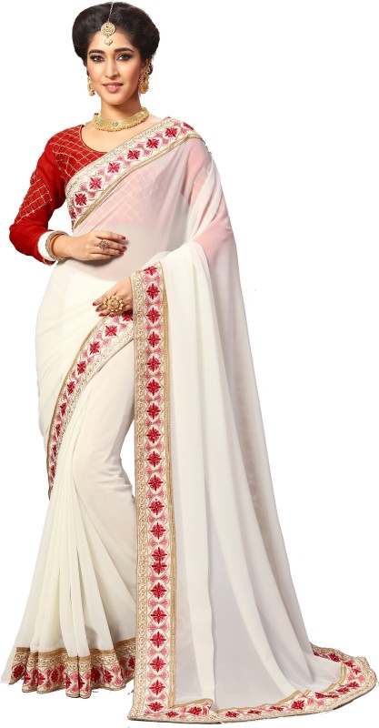 Pragati Fashion Hub Embroidered Fashion Georgette Saree(White, Beige)