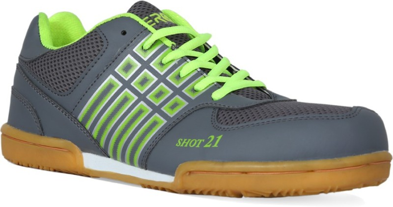 Feroc SHOT GRAY GREEN Badminton Shoes For Men(Green)