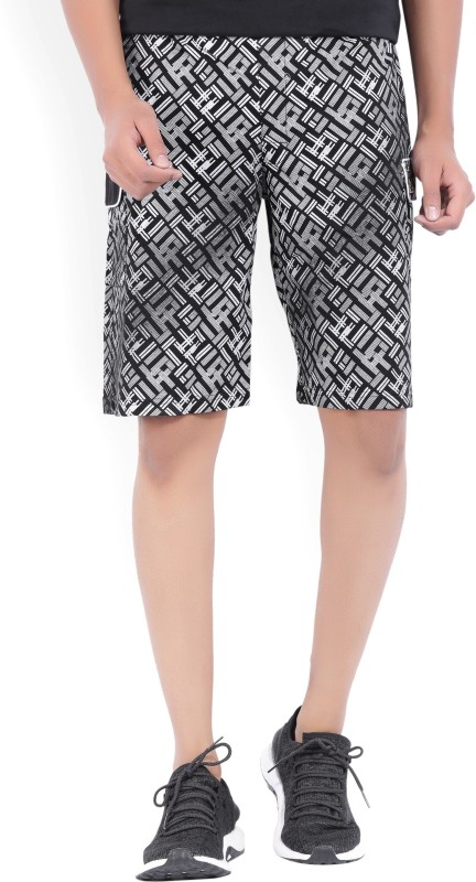 Fila Printed Mens Black, White Cargo Shorts