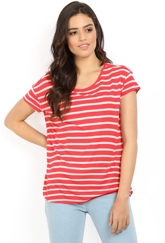 Levis Striped Womens Scoop Neck Red T-Shirt