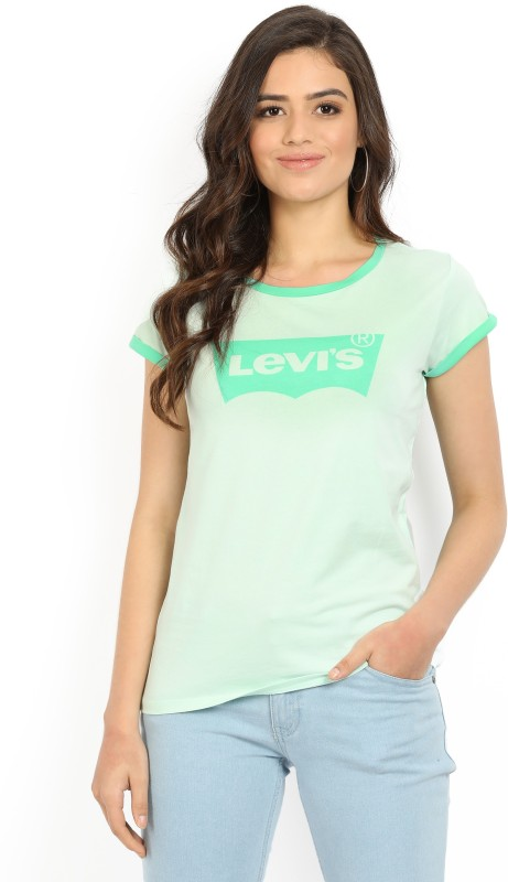 Levis Printed Womens Scoop Neck Green T-Shirt