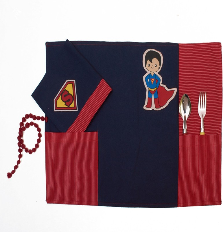 Advitiya Designs Rectangular Pack of 2 Table Placemat(Blue, Red, Cotton)
