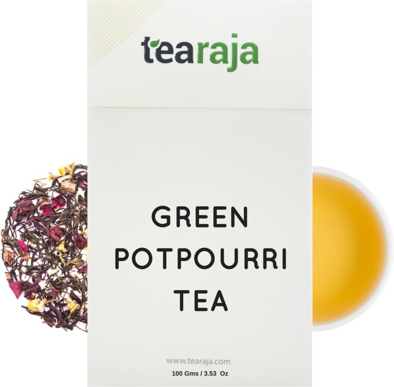 Tearaja Green Tea Potpourri Chamomile, Rose, Hibiscus, Black Pepper, Cinnamon, Cardamom, Orange Herbal Tea(100 g, Vacuum Pack)