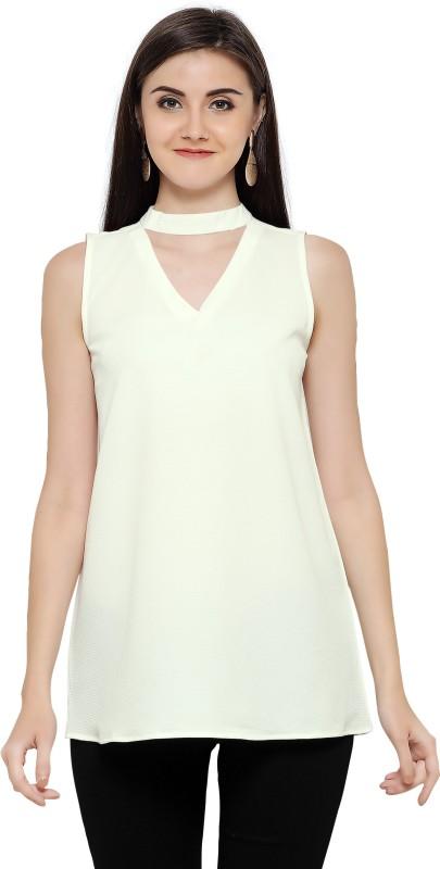 F Plus Fashion Casual Sleeveless Solid Women White Top
