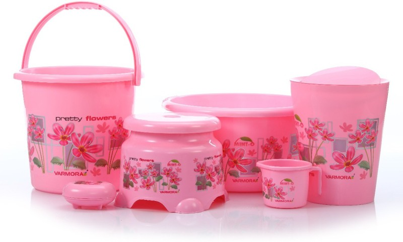 WCSE present Varmora companys Mint-O Flower printed 6 Pcs Balti Set Pink color (Balti 17.5 ltr, Bucket 17.5 ltr, Round Waste Container 8.5 Ltr with Lid, Mug 1 ltr, Soap Dish, Comfort Stool) 45 L Plastic Bucket(Pink)