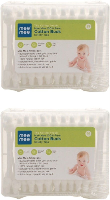 MeeMee 100% Pure Cotton Buds (White) (Pack of 2, 60 Pieces per Pack)(60 Units)