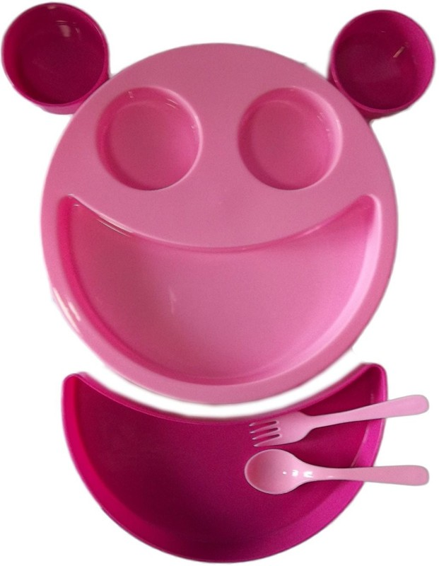 kotak sales Kids Children Pink Smiley Face Plates Mickey Shape Dish Mac Doodle Plate (1Set) Dinner Set(Plastic)