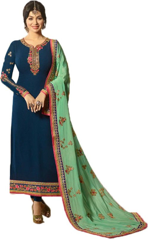 Jesti Designer Georgette Embroidered, Embellished, Self Design Semi-stitched Salwar Suit Dupatta Material
