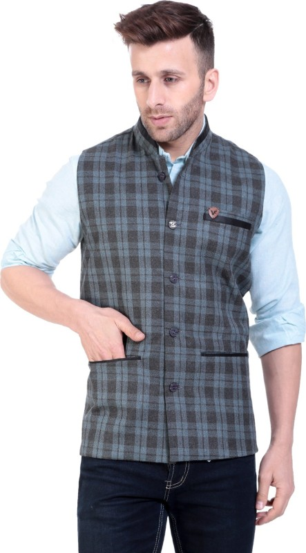 Vandnam fabrics Sleeveless Checkered Men Jacket