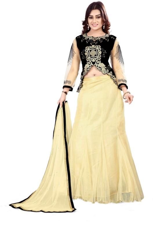 Fabcartz Self Design Lehenga Choli(Black, Beige)