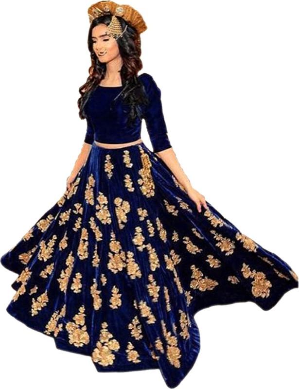 Shree Impex Embroidered Lehenga, Choli and Dupatta Set(Dark Blue)