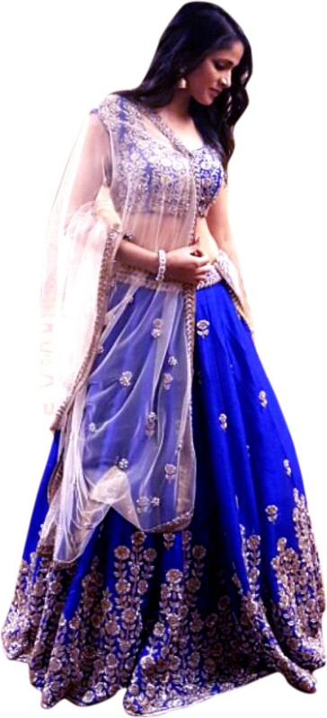 Shree Impex Embroidered Lehenga Choli(Blue)