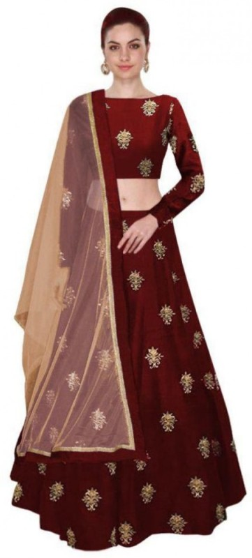 Shree Impex Embroidered Semi Stitched Lehenga, Choli and Dupatta Set(Maroon)