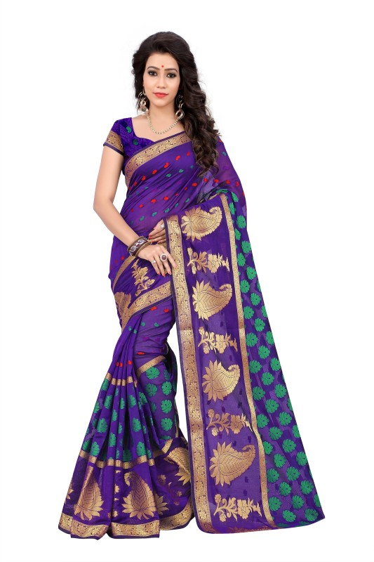 Jay Fashion Self Design Banarasi Poly Silk Saree(Multicolor)