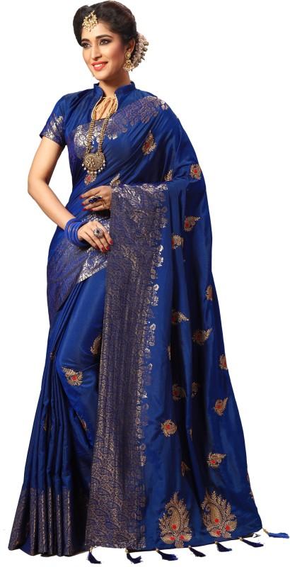 Pragati Fashion Hub Embroidered, Self Design Fashion Silk Saree(Dark Blue, Beige)