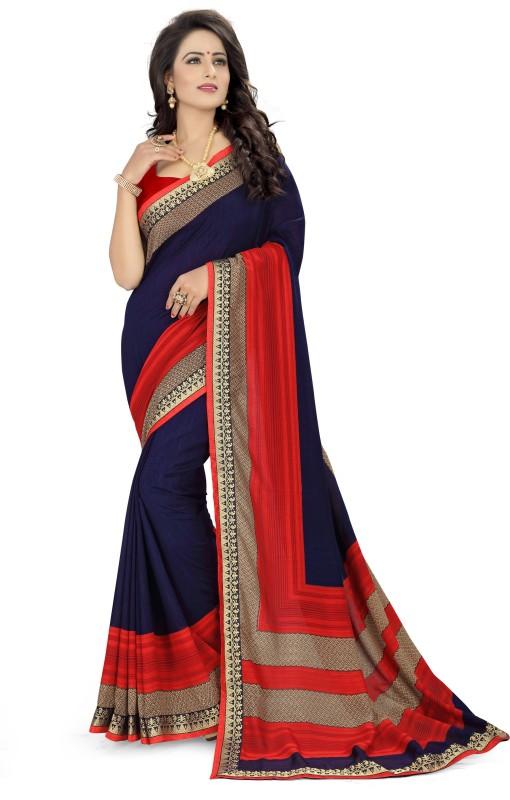 Oomph! Floral Print Bollywood Georgette Saree(Blue)