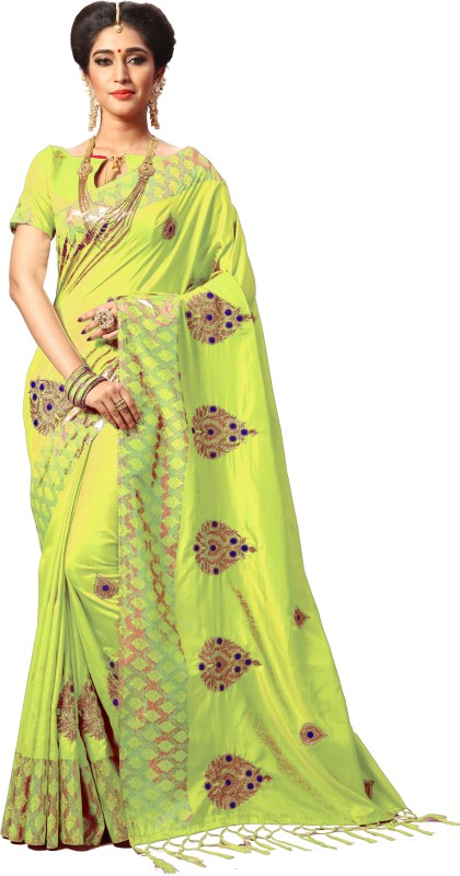 Pragati Fashion Hub Embroidered Fashion Silk Saree(Light Green)