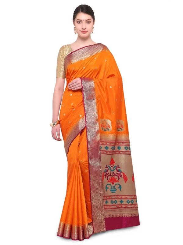 Varkala Silk Sarees Woven, Self Design Paithani Raw Silk Saree(Orange)