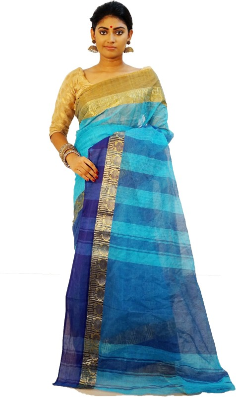 Vintage Violet Woven Bollywood Handloom Cotton Saree(Light Blue)