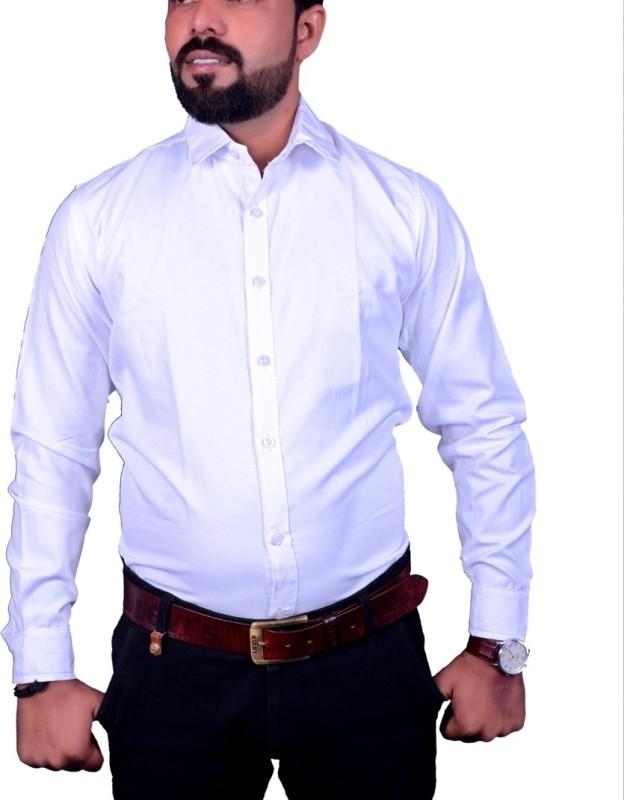 Nutlase Men's Solid Formal White Shirt