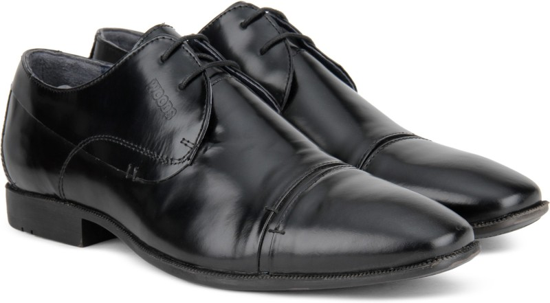 Woods Genuine Leather by Woodland Lace Up Shoes For Men(Black)