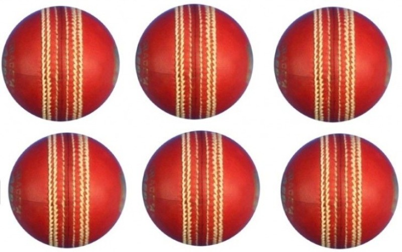 HEALTH FIT INDIA 2 PIECES LEATHER BALLS (No. of Balls : 6) Cricket Leather Ball(Pack of 1, Red)