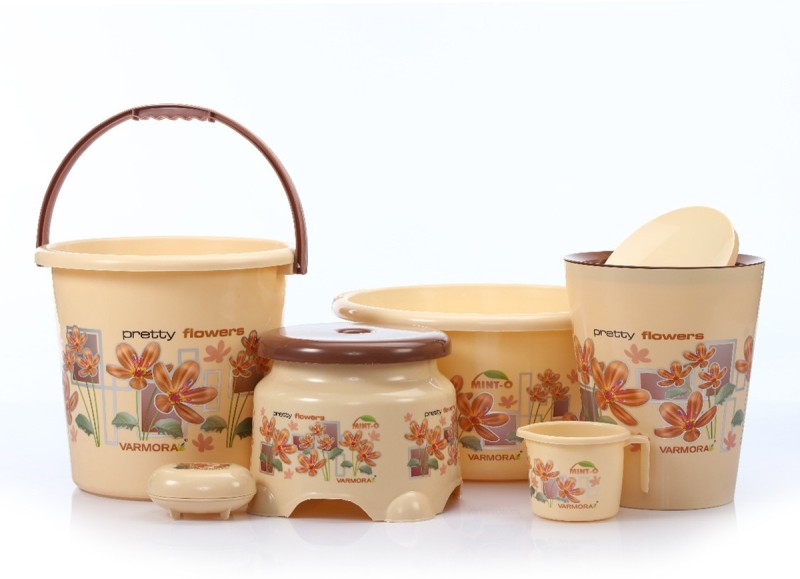 Prince present Varmora companys Mint-O Flower printed 6 Pcs Balti Set Beige color (Balti 17.5 ltr, Bucket 17.5 ltr, Round Waste Container 8.5 Ltr with Lid, Mug 1 ltr, Soap Dish, Comfort Stool) 45 L Plastic Bucket(Beige)