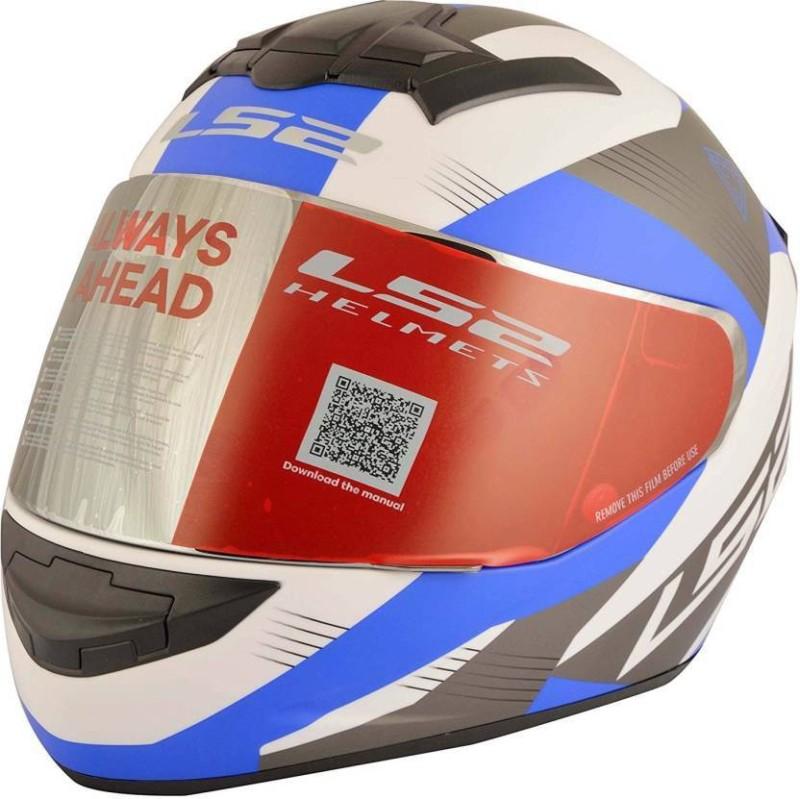 LS2 FF352-trooper-White-Blue Motorsports Helmet(White blue)