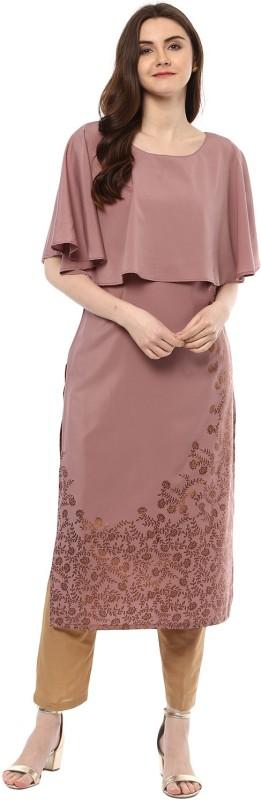 Ziyaa Women Self Design Straight Kurta(Purple)