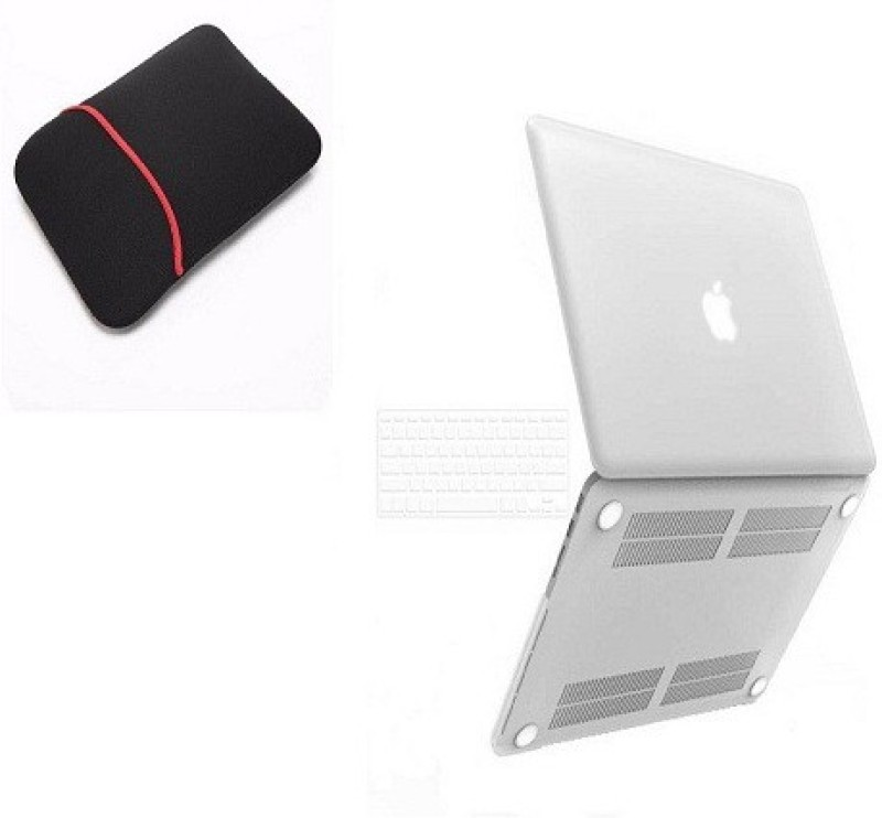VU4 Back Cover for Mac Book Pro 13inch (Black) With 15.6 inch Sleeve/Slip Case (Red, Black) Combo Set(White)