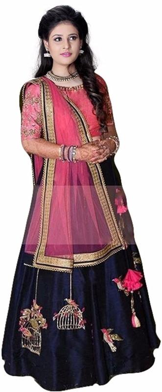 color bucket Embroidered Semi Stitched Lehenga, Choli and Dupatta Set(Dark Blue, Pink)