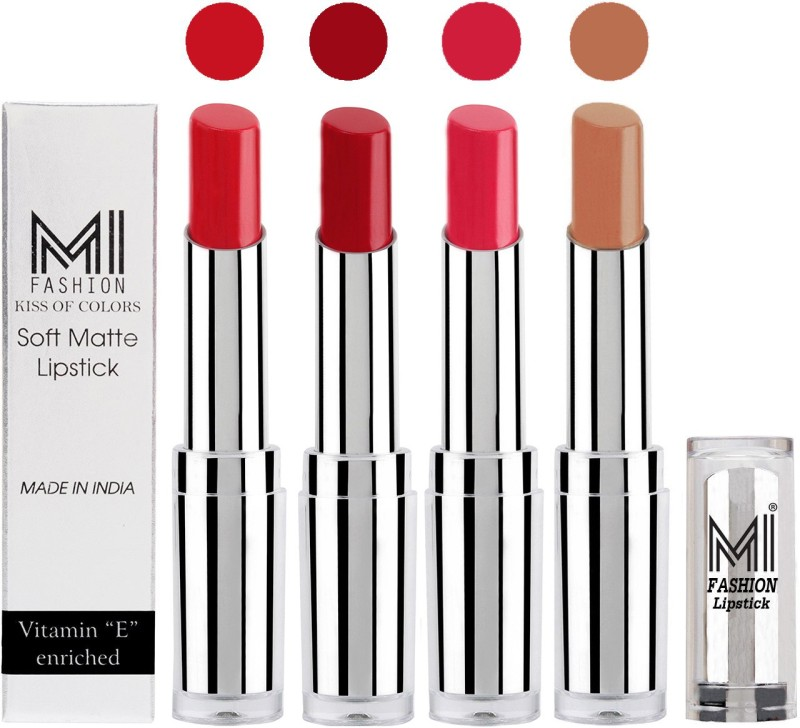 MI Fashion Hot and Bold Soft Creamy Matte Lipstick Combo – Perfect Gift for Her in 4 Vivid Colours(Romantic Red,Dry Red,Mauve,Nude, 14 g)