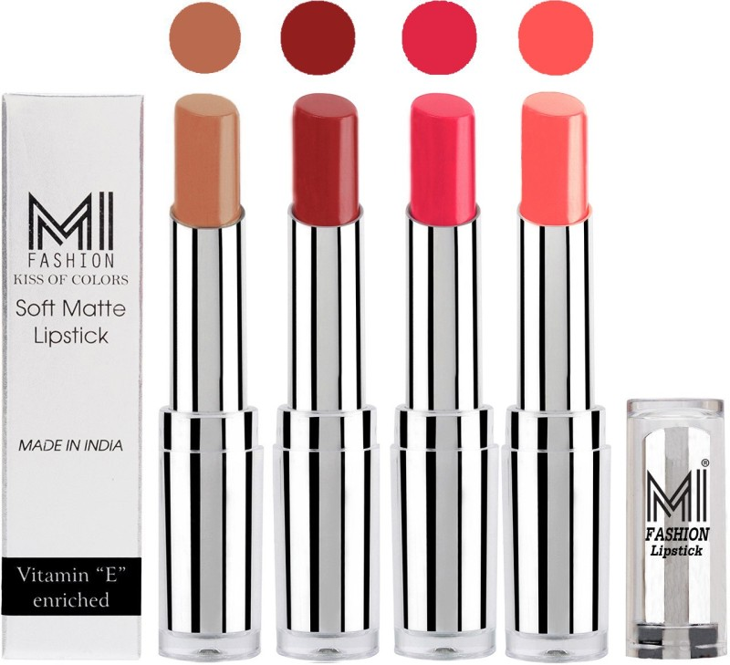 MI Fashion Hot and Bold Soft Creamy Matte Lipstick Combo – Perfect Gift for Her in 4 Vivid Colours(Nude,Brown Sugar,Magenta,Metalic Nude, 14 g)