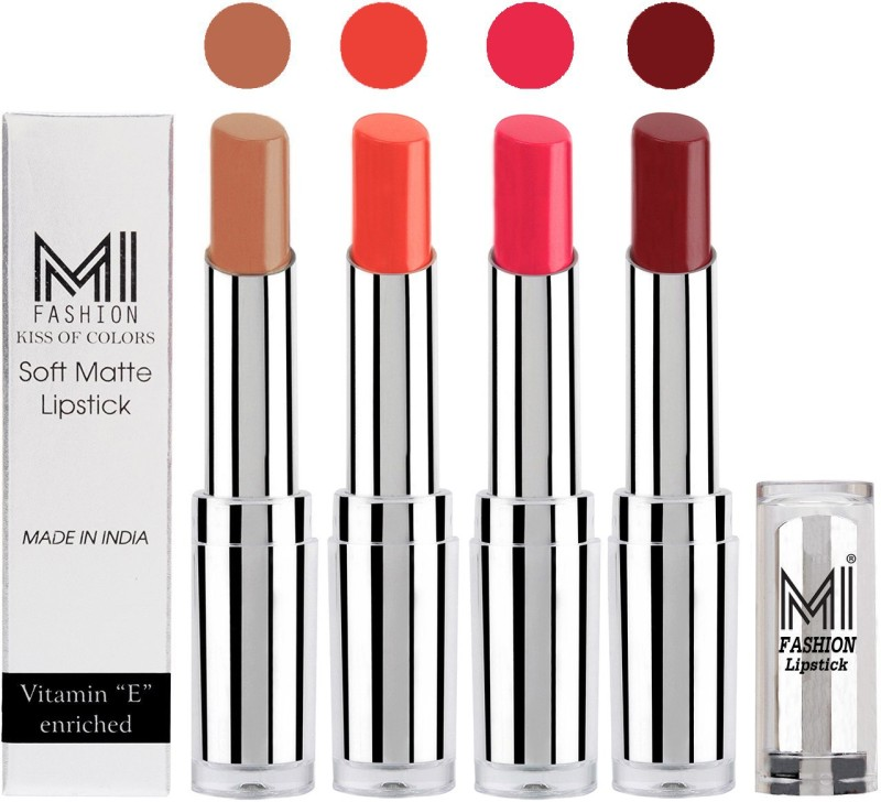 MI Fashion Hot and Bold Soft Creamy Matte Lipstick Combo – Perfect Gift for Her in 4 Vivid Colours(Nude,Coral Glamour,Magenta,Maroon Rebel, 14 g)