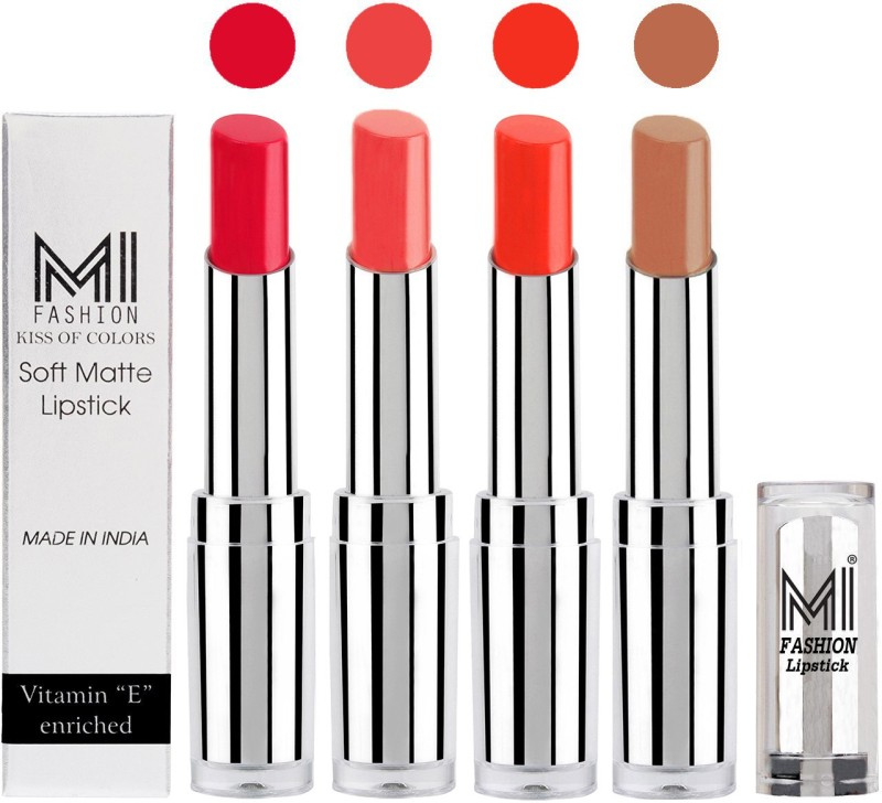 MI Fashion Hot and Bold Soft Creamy Matte Lipstick Combo – Perfect Gift for Her in 4 Vivid Colours(Red Bomber,Pouty Pink,Orange Crush,Nude, 14 g)