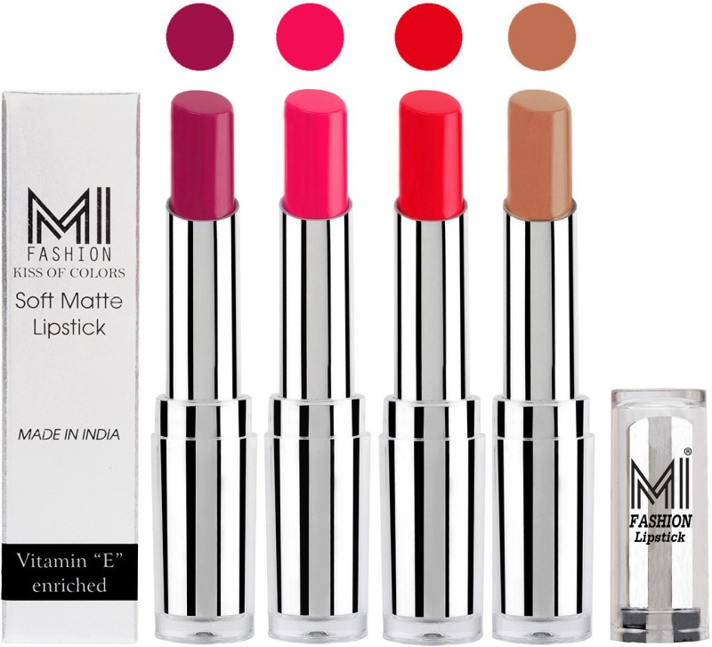 MI Fashion Hot and Bold Soft Creamy Matte Lipstick Combo – Perfect Gift for Her in 4 Vivid Colours(Purple Passion,Rosy Pink,Reddish Orange,Nude, 14 g)