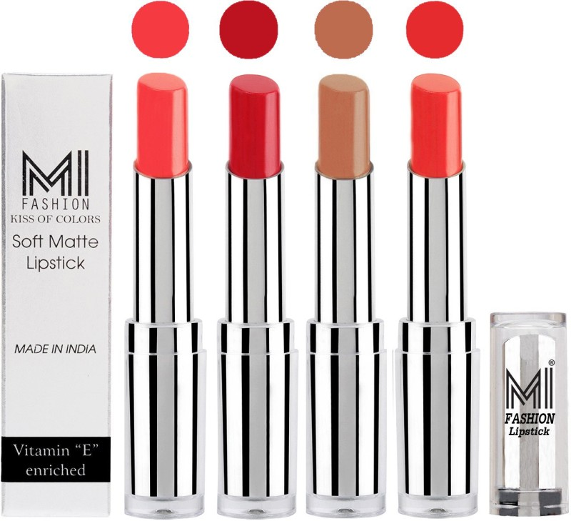 MI Fashion Hot and Bold Soft Creamy Matte Lipstick Combo – Perfect Gift for Her in 4 Vivid Colours(Pink Wink,Romantic Red,Nude,Orange Fever, 14 g)