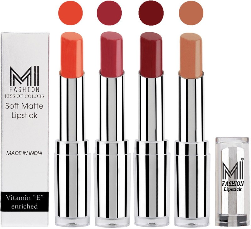 MI Fashion Hot and Bold Soft Creamy Matte Lipstick Combo – Perfect Gift for Her in 4 Vivid Colours(Brick Red,Brown Raisin,Maroon Rebel,Nude, 14 g)