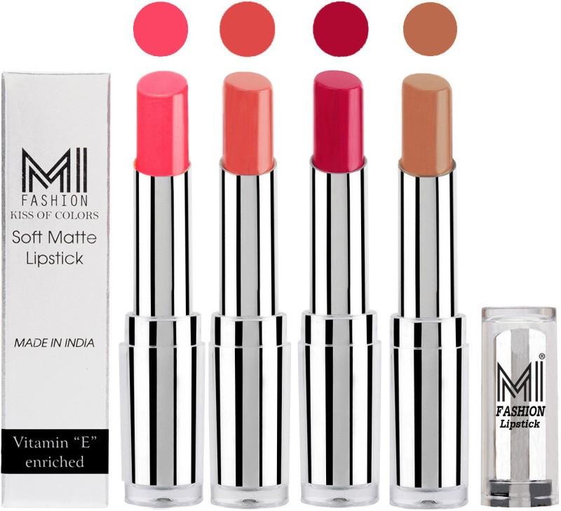 MI Fashion Hot and Bold Soft Creamy Matte Lipstick Combo – Perfect Gift for Her in 4 Vivid Colours(Peach,Mauve,Dark Magenta,Nude, 14 g)