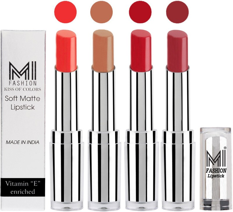 MI Fashion Hot and Bold Soft Creamy Matte Lipstick Combo – Perfect Gift for Her in 4 Vivid Colours(Orange Fever,Nude,Red Alert,Brown Raisin, 14 g)