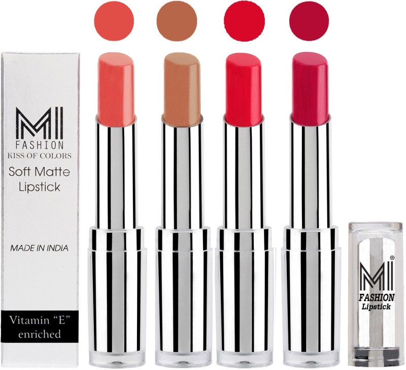 MI Fashion Hot and Bold Soft Creamy Matte Lipstick Combo – Perfect Gift for Her in 4 Vivid Colours(Mauve,Nude,Red Bomber,Dark Magenta, 14 g)