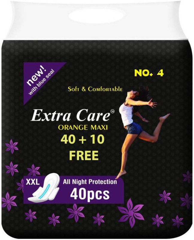 ExtraCare Overnight Extra Care Orange Maxi Sanitary Pad(Pack of 50)